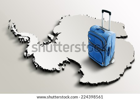 Travel to Antarctica. Blue suitcase on 3d map of the continent - stock photo