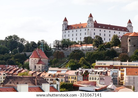 travel to Bratislava city - view of Bratislava castle from old city - stock photo
