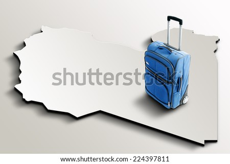 Travel to Libya. Blue suitcase on 3d map of the country - stock photo