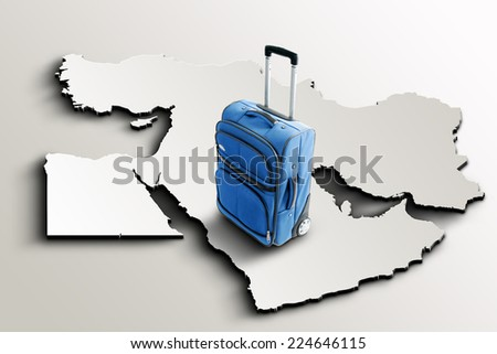 Travel to Middle East. Blue suitcase on 3d map - stock photo