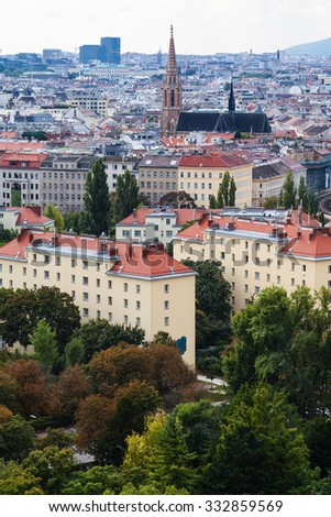 travel to Vienna city - view of Vienna city from Prater park side, Austria