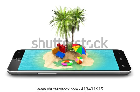 Travel, tourism and holidays and vacations online booking concept: 3D illustration of tropical island resort with blue sea ocean water, sand beach and palm trees on touchscreen smartphone screen - stock photo