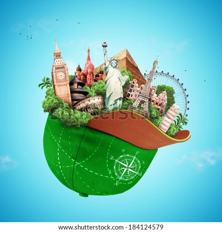 Travel, tourist attractions in a green baseball cap - stock photo