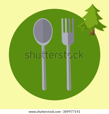 travel tourist spoon and fork, flat design