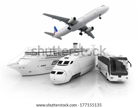 travel transport. Ship, train, bus and plain on white bacground