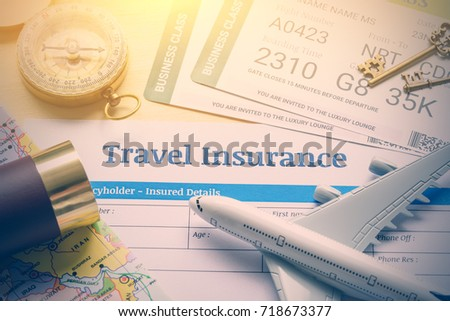 Travel transportation by air aviation concept stock photo 718673377 travel transportation by air or aviation concept top view of travel insurance application form altavistaventures Choice Image