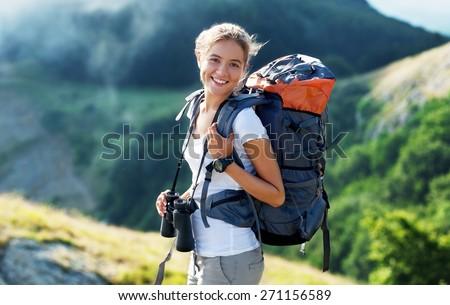 Travel, traveler, backpack. - stock photo