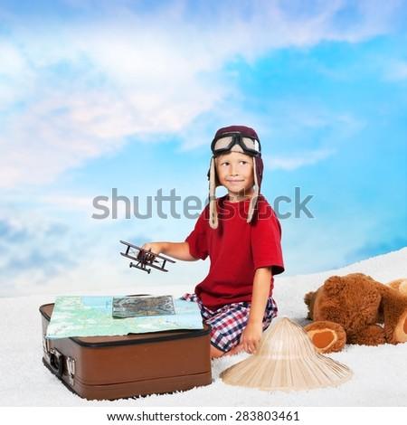 Travel, traveler, boy. - stock photo