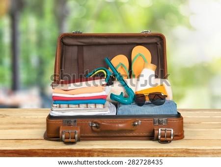 Travel, traveler, pack. - stock photo