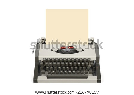 Travel typewriter with blank sheet isolated on white. - stock photo