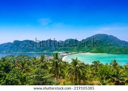 Travel vacation background - Phi-Phi island, Krabi Province, Thailand, Asia - stock photo