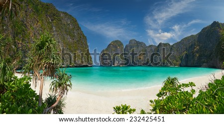 Travel vacation background - Tropical island with resorts - Phi-Phi island, Krabi Province, Thailand. - stock photo