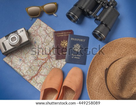 Travel vacation objects on a background - stock photo