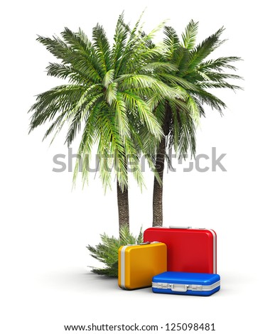 Travel, vacations and tourism concept: group of color travel cases under green beach island sea and ocean tropical palms isolated on white background - stock photo