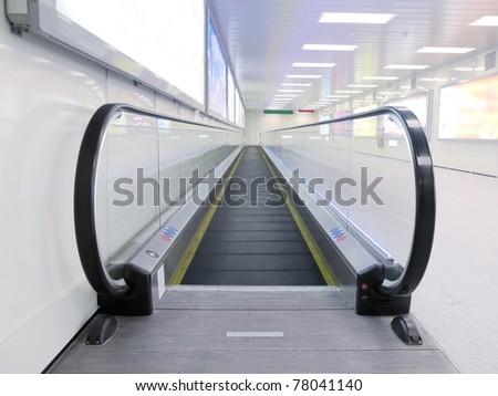 Travelator in airport - stock photo