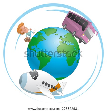 Traveler, airplane and bus  traveling around the world - stock photo