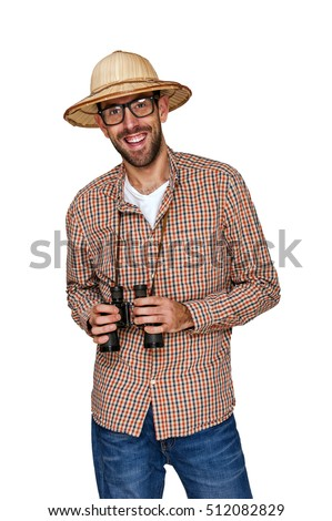 Traveler and explorer with binoculars and hat isolated over white background