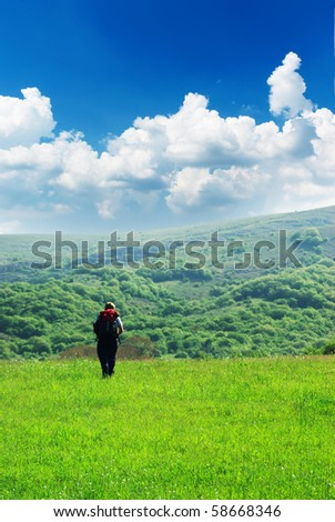 Traveler and nature. Element of design. - stock photo
