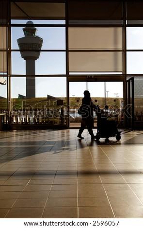 Traveler at airport - stock photo
