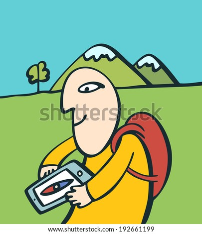 Traveler using tablet as a compass