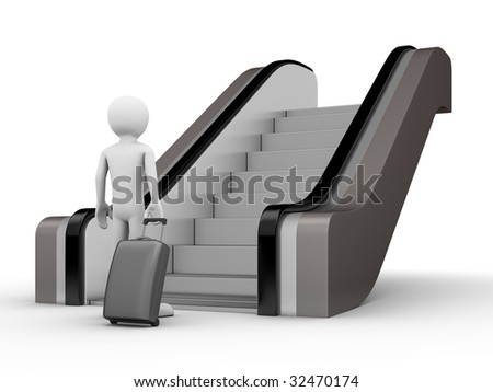 Traveler with a trunk before escalator - stock photo