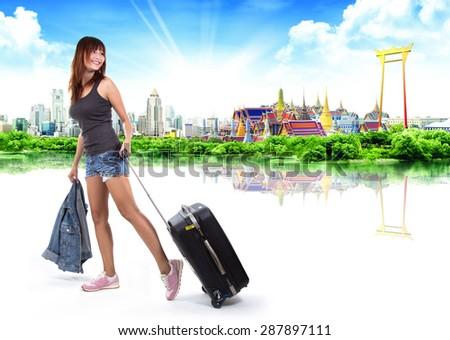 traveler woman, thailand travel concept - stock photo