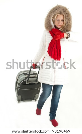 Traveler woman with a bag - isolated over a white background