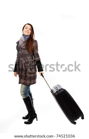 Traveler woman with a bag - isolated over a white background. Spring/Autumn/winter - stock photo