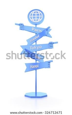 Travelers Global Signpost. 3D rendered graphics on white background.  - stock photo