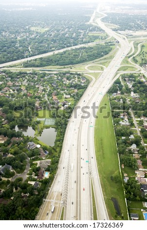 Traveling along an expressway in a city - stock photo
