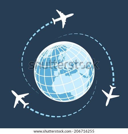 Traveling around the world by air transport concept wit three airplanes circumnavigating a globe on a dark blue background with flight paths illustration - stock photo