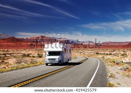 Traveling by motorhome, American Southwest, Utah - stock photo