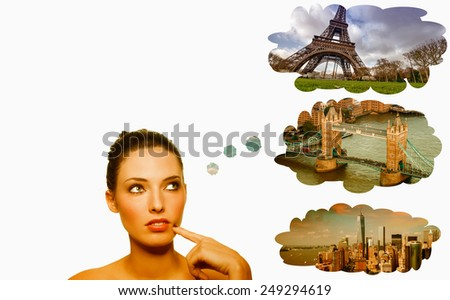 Traveling choices. Woman thinking about Paris, London and New York. - stock photo