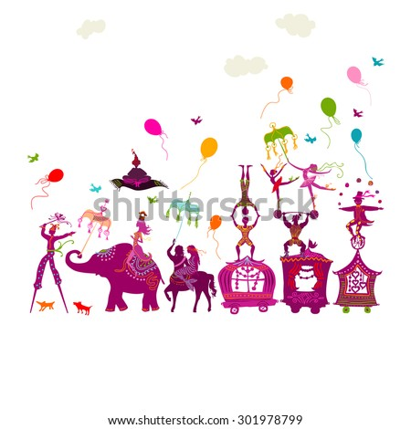 traveling colorful circus caravan with magician, elephant, dancer, acrobat and various fun characters in one row on white background - stock photo