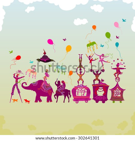 traveling colorful circus caravan with magician, elephant, dancer, acrobat and various fun characters in one row during daylight - stock photo
