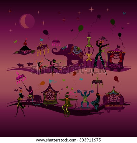 traveling colorful circus caravan with magician, elephant, dancer, acrobat and various fun characters in two rows at night - stock photo