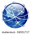 traveling concept. globe enclosed by airplane. illustration isolated on white background - stock photo