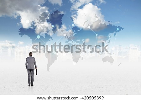 Traveling concept with businessman looking at abstract map on sky and city background