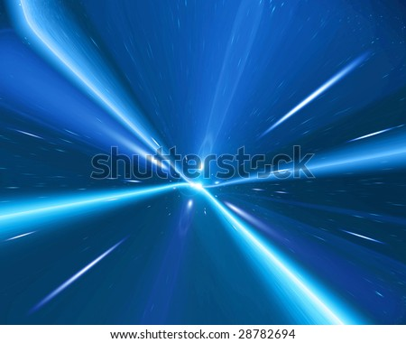 traveling in space: time warp in the galaxy - stock photo