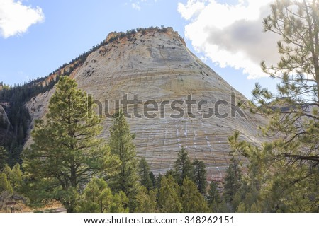 Traveling in the famous Zion National Park at Utah - stock photo
