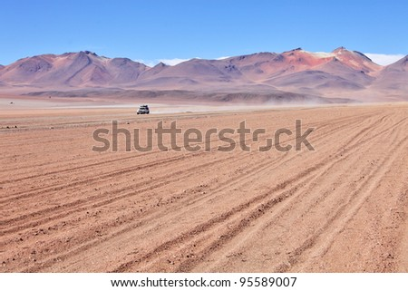 Traveling in the high-altitude desert of Bolivia - stock photo