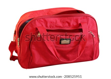 Traveling red bag on a white background - stock photo