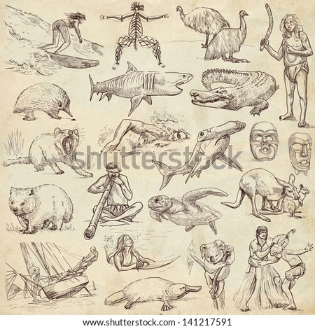 Traveling series: AUSTRALIA and Oceania - collection of an hand drawn illustrations. Description: full sized hand drawn illustrations drawing on old paper. - stock photo