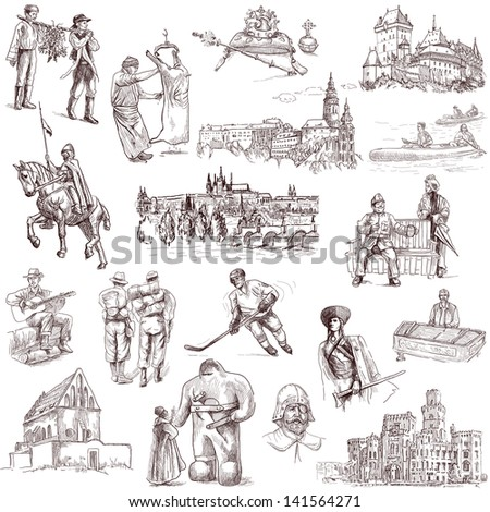 Traveling series: CZECHOSLOVAKIA - collection of an hand drawn illustrations. Description: full sized hand drawn illustrations isolated on white.