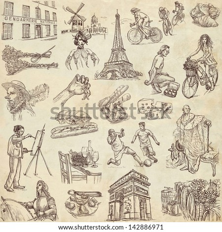 Traveling series: FRANCE - collection of an hand drawn illustrations. Description: full sized hand drawn illustrations drawing on old paper.