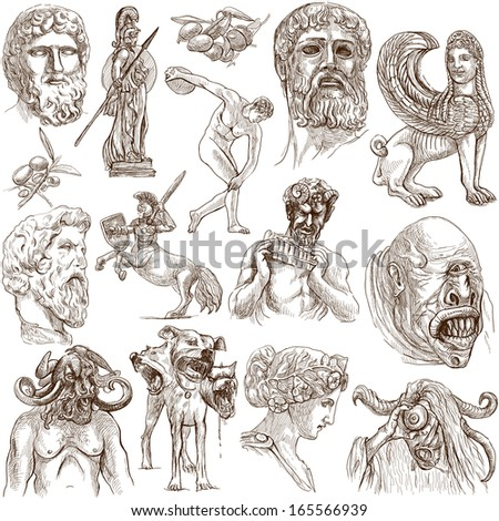 Traveling series: GREECE, part 4 - Collection of an hand drawn illustrations. Description: Full sized hand drawn illustrations drawing on white background. - stock photo