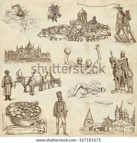 Traveling series: HUNGARY, part 2 - Collection of an hand drawn illustrations. Description: Full sized hand drawn illustrations drawing on old paper. - stock photo