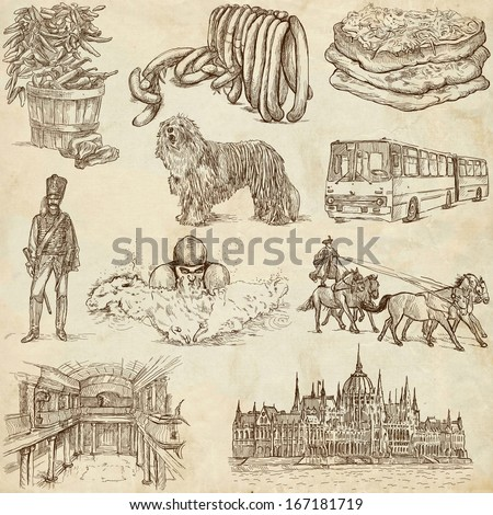 Traveling series: HUNGARY, part 1 - Collection of an hand drawn illustrations. Description: Full sized hand drawn illustrations drawing on old paper. - stock photo