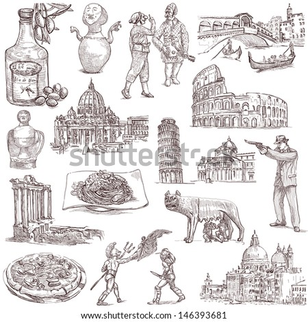 Traveling series: ITALY - Collection of an hand drawn illustrations. Description: Full sized hand drawn illustrations isolated on white. - stock photo