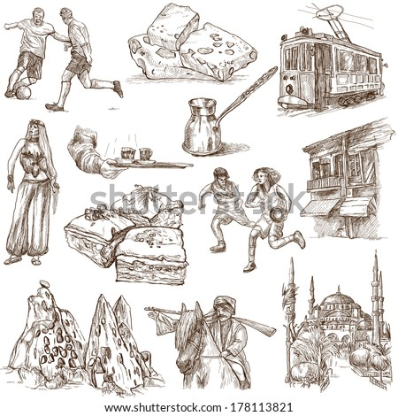 Traveling series: TURKEY, part 1 - Collection of an hand drawn illustrations. Description: Full sized hand drawn illustrations isolated on white.
